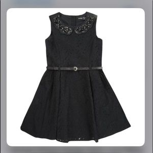 -black lace formal dress with collar and buttons